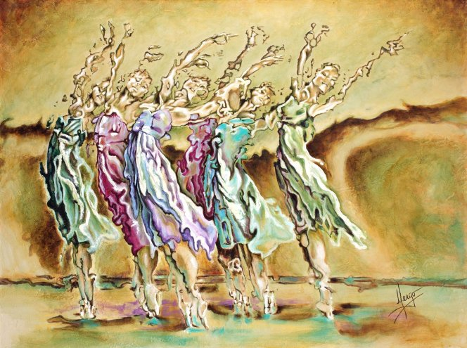 Abstract Figurative ballerina dancers painting